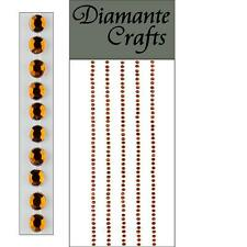 220 x 2mm Brown Diamante Self Adhesive Strips Rows Rhinestone Craft Gems
