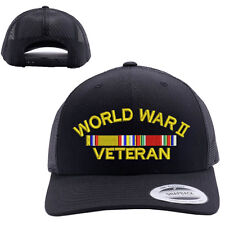 WORLD WAR 2 WW2 VETERAN MESH TRUCKER SNAP CLOSURE CAP HAT BLACK 6606 RETRO
