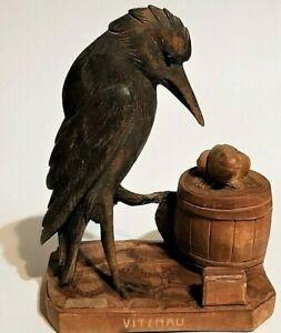 ANTIQUE CARVED BIRD FROG BARREL STATUE FANTASTIC DETAIL GREAT WORN PATINA