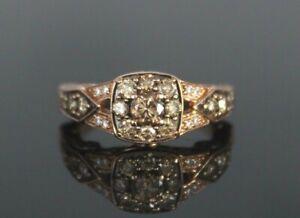 $2,499 LeVian 14k Strawberry Rose Gold 1.00ct Chocolate White Diamond Ring 4.75