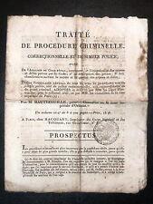 PROSPECTUS Traite Procedure Criminelle HAUTEFEUILLE Droit HACQUART 1811