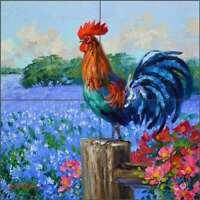 Rooster Tile Backsplash Mikki Senkarik Texas Bluebonnet Art Ceramic Mural MSA239