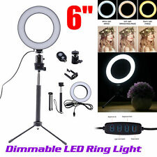 "6"" Ring Light LED Studio Photo Video Dimmable Lamp W/Tripod Stand Selfie Stick K"