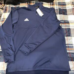 NWT Adidas Men's Team Navy Blue/White Team Issue Fleece 1/4 Zip FT3328 Size XLT
