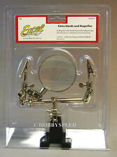 EXCEL DOUBLE CLIP EXTRA HANDS MAGNIFIER train track fly tie model kit #55675 NEW