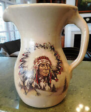 "8"" Stoneware Pottery Pitcher Large Lg Indian Chief Shakers and Thangs"