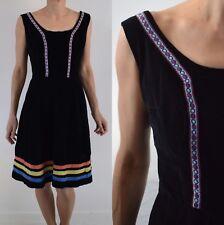 BLACK VELVET, DIRNDL FOLK PEASANT 1960s VINTAGE DRESS 16