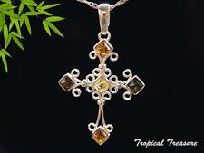 Baltic Amber Cross & 925 SOLID Silver Pendant & chain    #199006