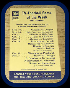 1953 GENERAL MOTORS GAME OF THE WEEK FOOTBALL POCKET SCHEDULE FREE SHIPPING