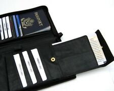 Black Leather Travel Organizer Passport Cover Wallet Tickeket Card Holder Zip)))