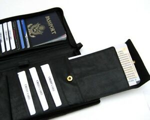 Black Leather Travel Organizer Passport Cover Wallet Ticket Card Holder Zip