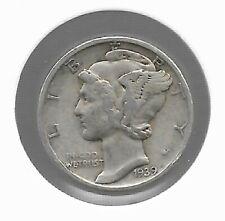 Rare Old 1939 Us Silver Liberty Mercury Collection Dime Collectible Antique Coin