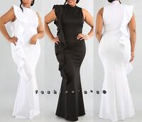Plus Size Side Ruffle Mermaid Maxi Dress Bodycon Gown Black White