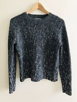 Womens Cos Grey Jumper Size S UK 8 10 Alpaca Wool Cropped Abstract VGC