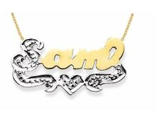 Personalized Diamond Look High Polish Nameplate Pendant Necklace Sterling Silver
