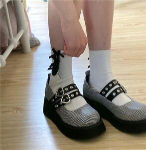 Women's Lolita Platform Mary Jane Creeper Shoes UK 3-8 EUR 35-40