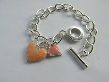 Pretty Pink Mix Heart Charm Silver Plated Chain Bracelet ~ Handmade Gift Idea