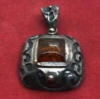 Vintage Sterling Silver Necklace 925 Amber Pendant Gemstone Orange
