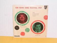 "SINGLE 7"" - SAN REMO SONG FESTIVAL 1959 - WILMA DE ANGELIS - ARTURO TESTA - EP"