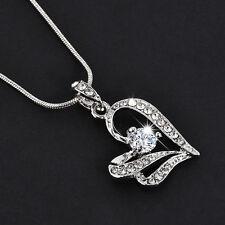 Elegant Women's Heart Crystal Rhinestone Silver Chain Pendant Necklace Jewelry