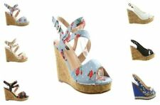 Peep Toes Floral Textile Heels for Women