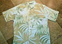 Cubavera Floral Button Front Short Sleeve Shirt Viscose Rayon Ivory Tan XL Men