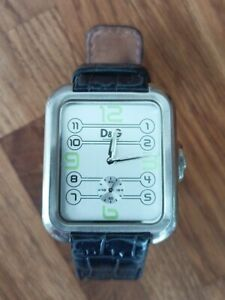 Dolce Gabbana D&G Time Men's Steel Watch Retro Silver Grey Dial Leather Strap