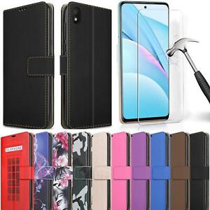 For Xiaomi Redmi 9AT Case Slim Leather Wallet Stand Phone Cover + Tempered Glass