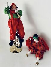 Vintage Ceramic Fabric Clown Riding a Unicycle Collectable figures Lot of 2