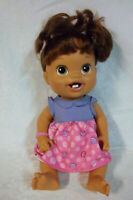 "Baby Alive DOLL First New Teeth Hasbro 14"" Drink & Wets Brown Hair Toy"