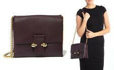 $1795 Alexander McQueen Leather Twin Skull Chain Satchel Crossbody Bag in PURPLE