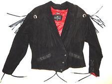 Vtg Bermans BLACK SUEDE Leather Western FRINGE TASSEL CONCHO Jacket BIKER Coat L