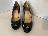 "Cole Haan Women's Size 9.5B Air Pumps Peep Toe Black Patent Leather 3.75"" Heels"
