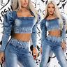By Alina Mexton Damen 2-Teiler Jeans Top Puffärmel HIGH-WAIST Röhrenjeans  XS-M