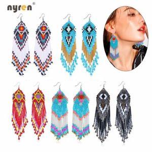 Beaded Earrings Bohemian Multicolour Beaded Drop Dangle Earrings Handmade