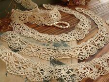 4pcs Lot Antique Vtg Bobbin Lace Needle lace collar Trim Doll Beautiful Ecru 4#