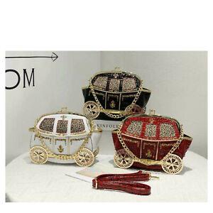 Ladies Fancy Golden Carriage Shoulder Bag Women Party Clutch Tote Handbag T16
