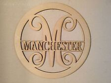 Unfinished Wood Circle Frame Name Bar Vine Monogram 17.5 x 17.5 inch Door Hanger