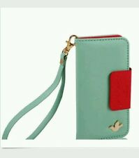 iPhone 4/4S Wallet Flip Case Cover Turquoise Red Bird New Fast Free Shipping