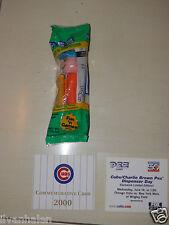 PEZ Charlie Brown Chicago Cubs Giveaway Dispenser 2000 Commemerative Card Mint