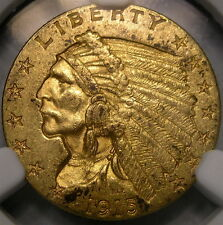 1915 INDIAN HEAD $2.5 GOLD QUARTER EAGLE VERY APPEALIN BEAUTY SCARCE NGC MS 61