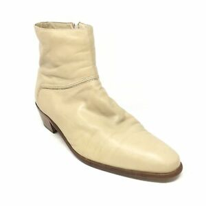 Men's Bally Mentor Side Zip Ankle Boots Dress Shoes Size 11 Beige Leather