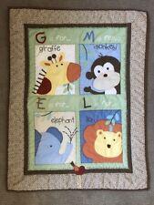 40 x 31  Baby Blanket Comforter Quilt Monkey Elephant Lion Giraffe Leopard Back