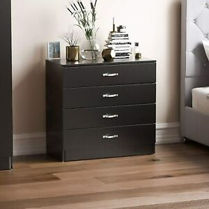 Home Discount Vida Designs Black Chest of Drawers, 4 Drawer With Metal Handles a