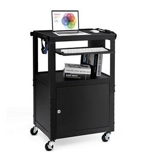 Mobile Steel AV Presentation Cart Adjustable Height w/ Locked Cabinet & Keyboard
