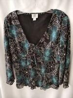 Women's Apt 9 Black & teal Floral Top blouse Size Medium 3/4 Sleeve Sheer, lined