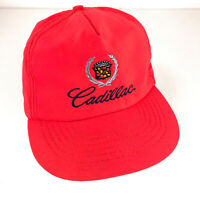 Vintage Cadillac hat nylon standup leather strap back cap Made USA hbx42