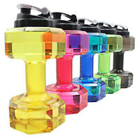 2.2 L Dumbbell Big Large BPA Free Gym Training Drink Water Bottle Cap Kettle Jug