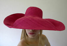 Summer Hat New Ladies Large Beach Fashion Floppy Hand Made Raffia Bright Pink