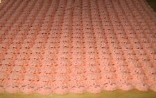 CROCHET PEACH BABY BLANKET THROW LAP AFGHAN SHELL PATTERN HANDMADE GIRL BOY